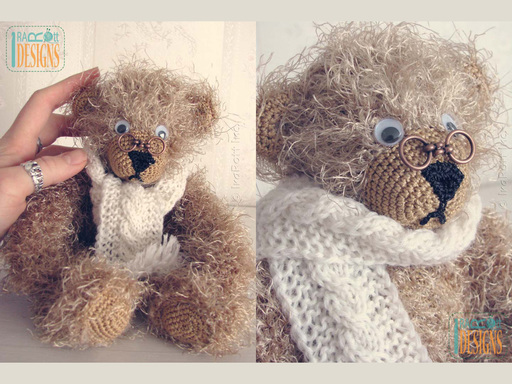 Soft Plush Teddy Bear Amigurumi Toy with Hand Knit Scarf and glasses by IraRott