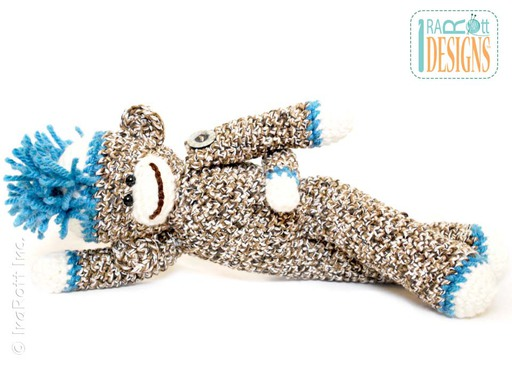 Sock Monkey Amigurumi Toy with Mohawk Crochet Pattern by IraRott