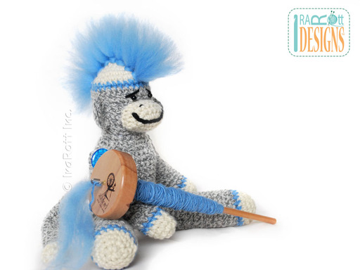 Sock Monkey Amigurumi Toy with Furry Roving Mohawk Crochet Pattern by IraRott