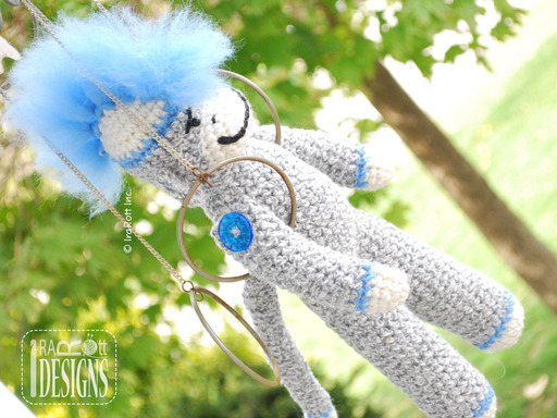 Sock Monkey Amigurumi Toy with Furry Wool Roving Mohawk Crochet Pattern by IraRott