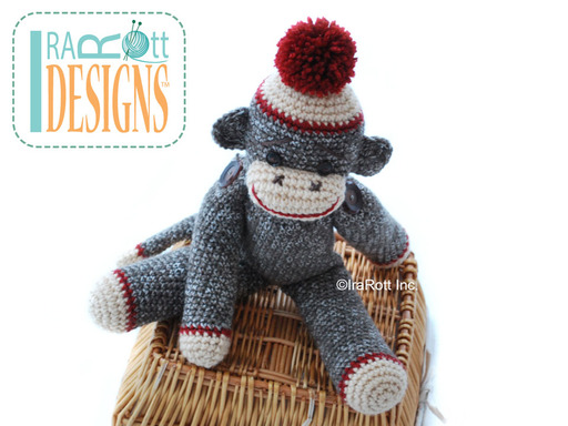 Big Sock Monkey Amigurumi Toy with Pom-Pom Classic Crochet Pattern by IraRott