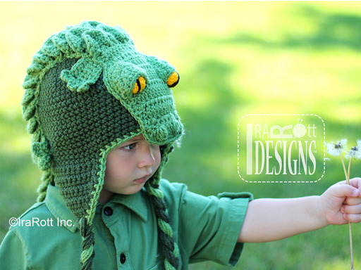 Crochet Crocodile Animal Hat designed and made by IraRott