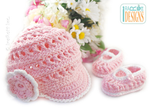 Crochet Newsboy Hat with Brim and Matching Baby Booties by IraRott