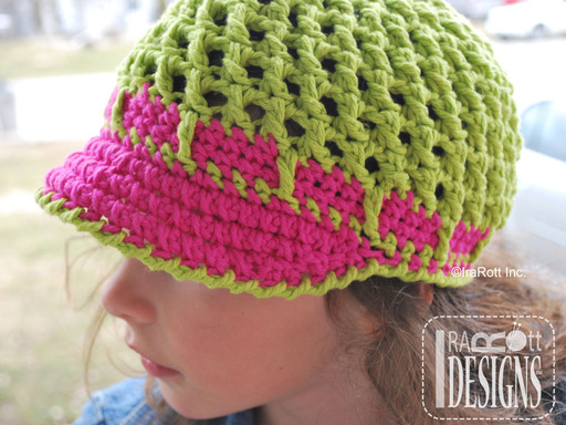 Crochet Newsboy Sunhat with Brim designed and made by IraRott