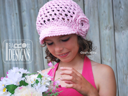 Crochet Newsboy Sunhat with Brim and Flower by IraRott