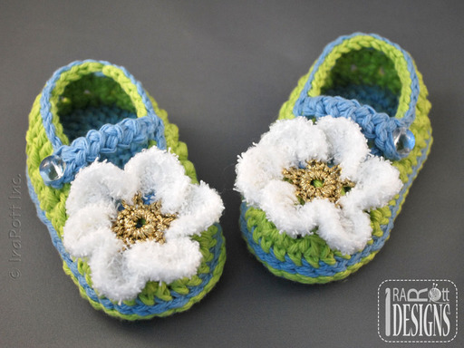 Crochet Double-sole Baby Booties with Daisy by IraRott