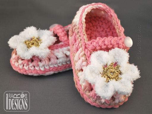 Pink Crochet Baby Booties with Daisy designed by IraRott