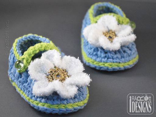 Crochet Double-sole Baby Booties with Daisy designed by IraRott