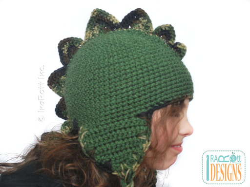 Spiky Dinosaur Crochet Earflap Hat designed and made by IraRott