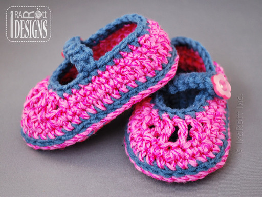 Adorable Pink and Blue Crochet Baby Booties designed by IraRott