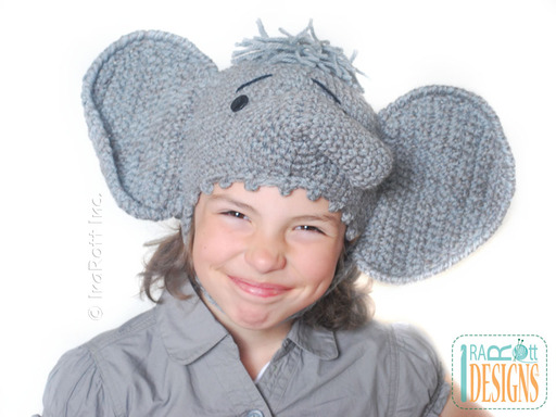 Adorable Elephant Crochet Animal Hat designed and made by IraRott