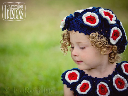 Patriotic Flower Lace French Beret designed and made by IraRott