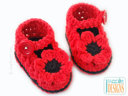 Red Poppies Crochet Baby Booties desined by IraRott