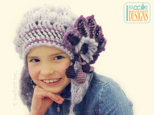 Free Form Crochet Beret with Flower designed and made by IraRott