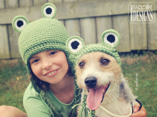 Matching Frog Hats for Kids and Dogs designed and made by IraRott