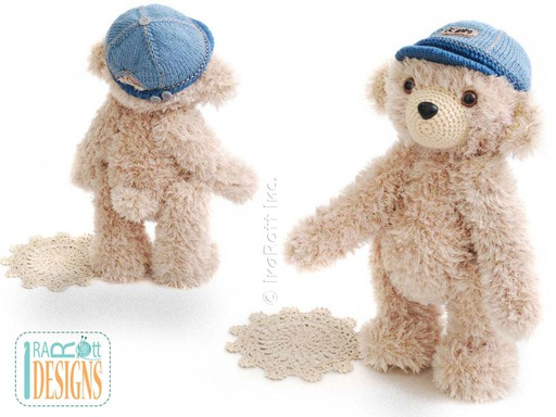 Crochet Furry Teddy Bear With Knit Denim Cap Pattern by IraRott
