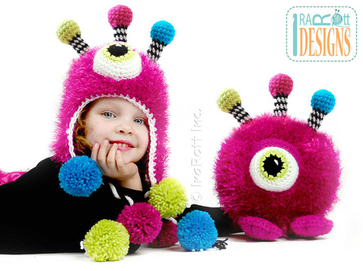 Furry Gumball Monster Crochet Hat and matching Toy by IraRott