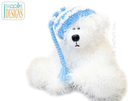 Amigurumi Furry Polar Bear Stuffed Animal Toy with Knit Stripped Hat Crochet Pattern by IraRott