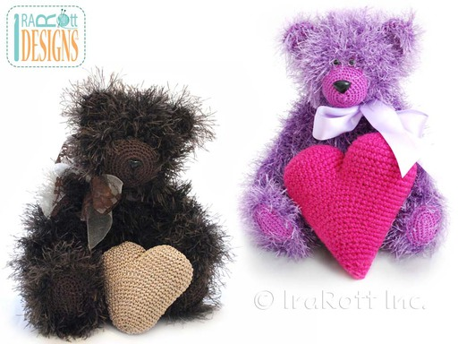 Amigurumi Furry Teddy Bear with Heart and Lace Bow Crochet Pattern by IraRott