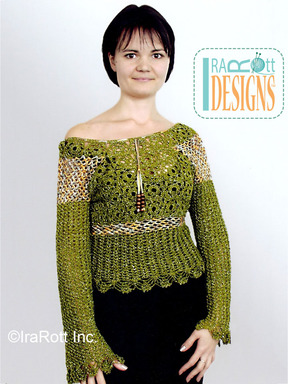 Lace Crochet Long Sleeve Blouse designed and made by IraRott
