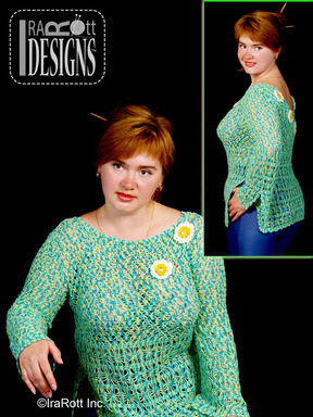 Lace Crochet Cardigan with Daisies designed and made by IraRott