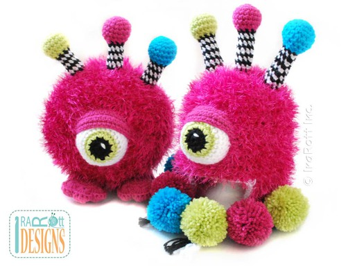 Alien Monster  Furry Gumball Amigurumi Toy and Hat for Kids Crochet Pattern by IraRott