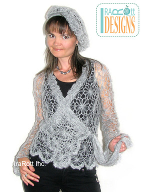 Hairpin Lace Crochet Motif Jacket and Beret designed and made by IraRott