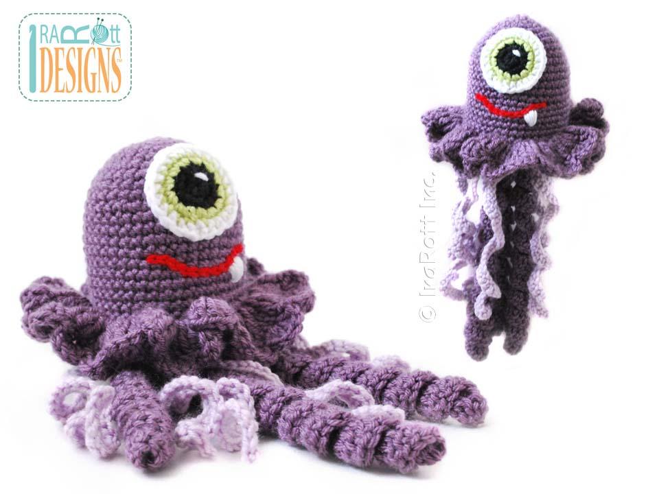 Crochet Jellyfish : Amigurumi Jellyfish Alien Monster Stuffed Toy Crochet Pattern by ...