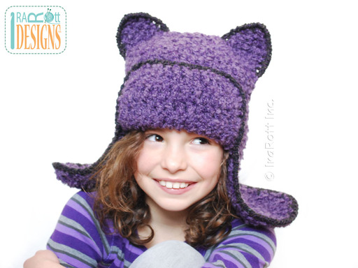 Purple Kitty Cat Crochet Hat with Ears designed and made by IraRott