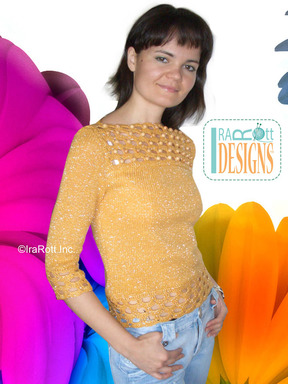 Knit Blouse with Crochet Embellishments designed by IraRott