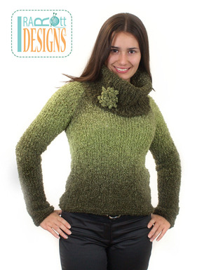Knit Boucle Chunky Sweater with Cowl designed and made by IraRott