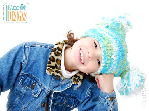 Super Bulky Crochet Square Hat with Pom-Poms designed and made by IraRott