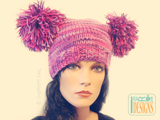 Adorable Crochet Hat with Pom-Poms designed and made by IraRott