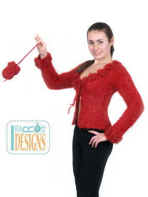 Sparkly Knit Sweater with Crochet Flowers designed and made by IraRott