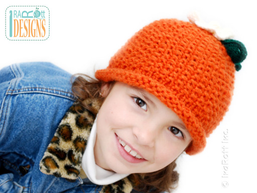 Knit Pumpkin Beanie with Flower designed and made by IraRott