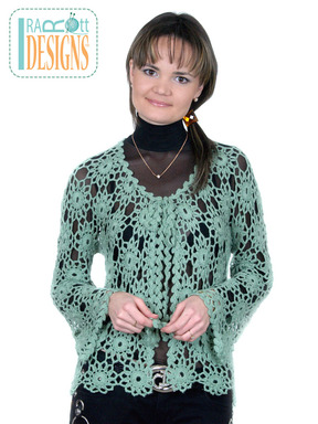 Lace Crochet Motif Cardigan designed and made by IraRott