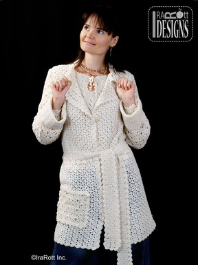 Crochet Coat with Long Belt and Pockets designed and made by IraRott
