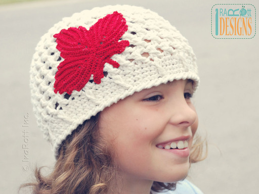 Maple Leaf Canadian Crochet Beanie Designed and made by IraRott