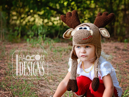 Crochet Moose Forest Animal Hat designed and made by IraRott