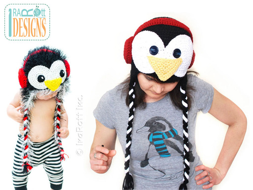 Crochet Penguin Hat with Earmuffs designed and made by IraRott
