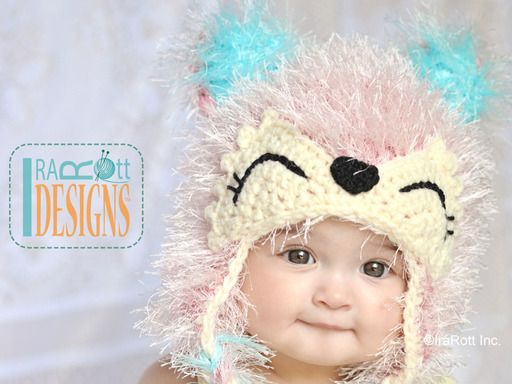 Adorable Crochet Furry Pink Fox Hat designed and made by IraRott