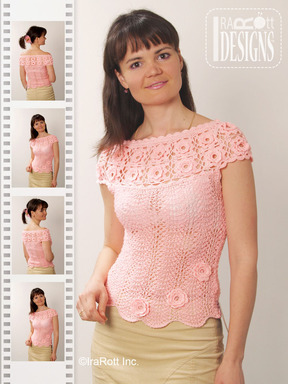 Flower Yoke Knit and Crochet Top designed and made by IraRott