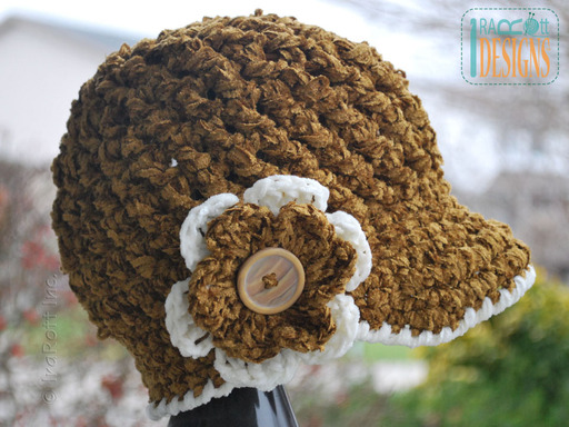 Crochet Newsboy Hat with Brim and Flower by IraRott