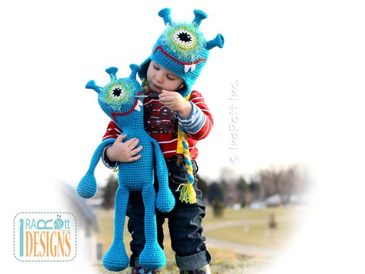 Alien Monster Plutonian Paul Amigurumi Toy and Hat for Kids Crochet Pattern by IraRott