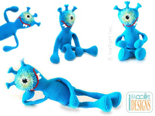 Alien Monster Plutonian Paul Amigurumi Toy for Kids Crochet Pattern by IraRott