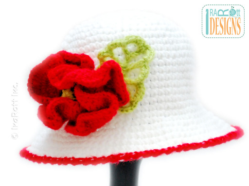 Crochet Poppy Flower Brimmed Hat designed and made by IraRott
