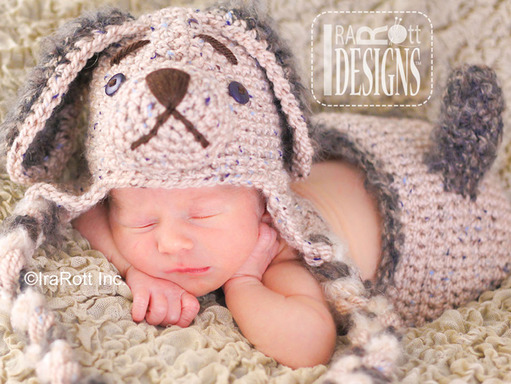 Crochet Puppy Dog Baby Hat Set with diaper cover and Tail by IraRott