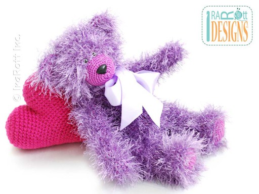 Amigurumi Furry Teddy Bear with Pink Heart Crochet Pattern by IraRott
