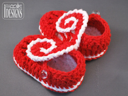 Red Heart Crochet Slippers with Double-sole designed by IraRott
