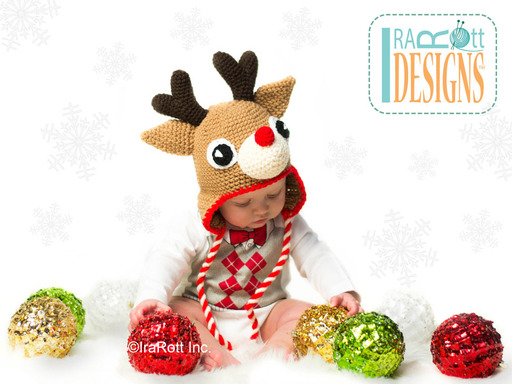 Crochet Reindeer Animal Christmas Hat with Antlers designed and made by IraRott